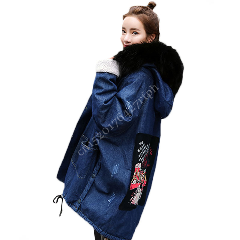 2018 Big Size Jean <font><b>Jackets</b></font> Women Autumn Winter Hooded Lambs Wool Fur Coat Female Casual Loose Thick Warm Parks Casacos Femininos