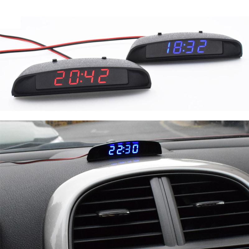 12v 3 in 1 car interior vehilce digital clock time thermometer temp battery volt voltage monitor. Black Bedroom Furniture Sets. Home Design Ideas