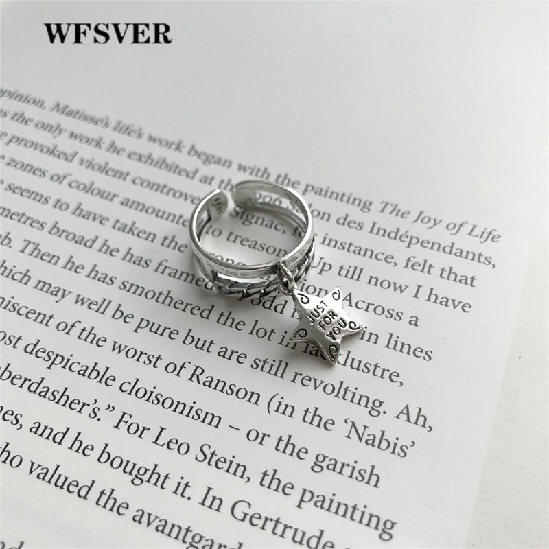 WFSVER 925 sterling silver ring for women korea style double layer chain star shape ring opening adjustable fine jewelry gift