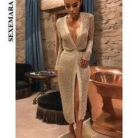 SEXEMARA Gold Sexy Long Cardigan Sweater Women Tops 2018 Autumn Winter High Quality Fashion Long Sleeve Coat with Belt C79 BC 88