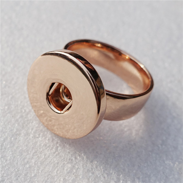 1PC High Quality Good Polish Fashion Men Rose Gold Metal Ginger 18mm Snap Button Stainless Steel Ring Jewelry