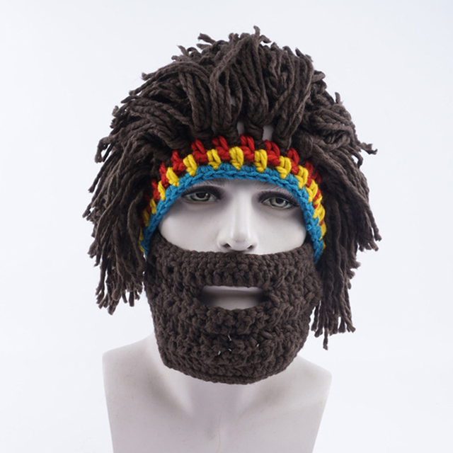 2017 novelty Men Funny Mask Hat Beard Wig Hat Ski caps New Hobo Handmade  Kniting Warm Winter Caps Beanies party funny Gift 38402f7a12a