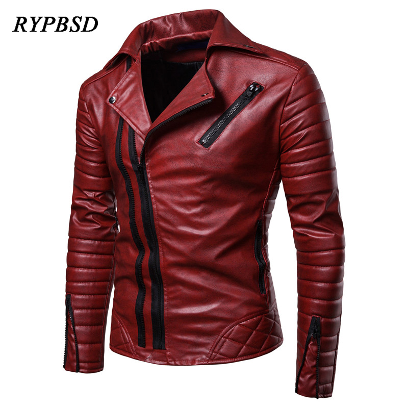 New 2019 Leather Jacket Men Fashion Casual Multi-Zipper Large Size Red Black PU Faux Leather Motorcycle Biker Jacket Men M-4XL