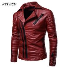 New 2019 Leather Jacket Men Fashion Casual Multi-Zipper Large Size Red Black PU