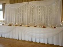 20ft 10ft white Silk Wedding Backdrop wedding backdrop drapes curtain wedding decoration with Led light starlight