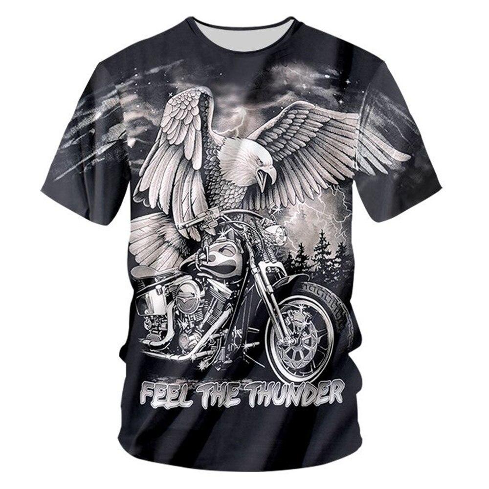 S-3XL Men   T     Shirt   Black Tops Cool Eagle Print 3d   T  -  shirt   Short Sleeve O-Neck Cotton Funny Hip Hop Tshirt Man Clothes Wholesale