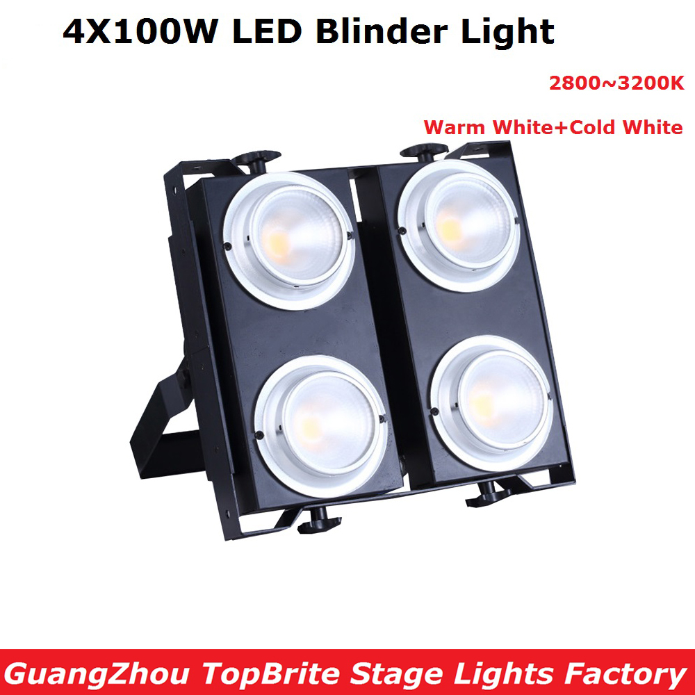 China Factory Directly Sale 4 Eyes 4X100W Led Audience Lights COB Power Cold White + Warm White 2IN1 LED Blinder Lights audience powerchord schuko 2 m