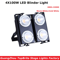 Chine Usine Directement Vente 4 Yeux 4X100 W Led Feux D'audience COB Puissance Froid Blanc + Blanc Chaud 2IN1 LED Blinder lumières