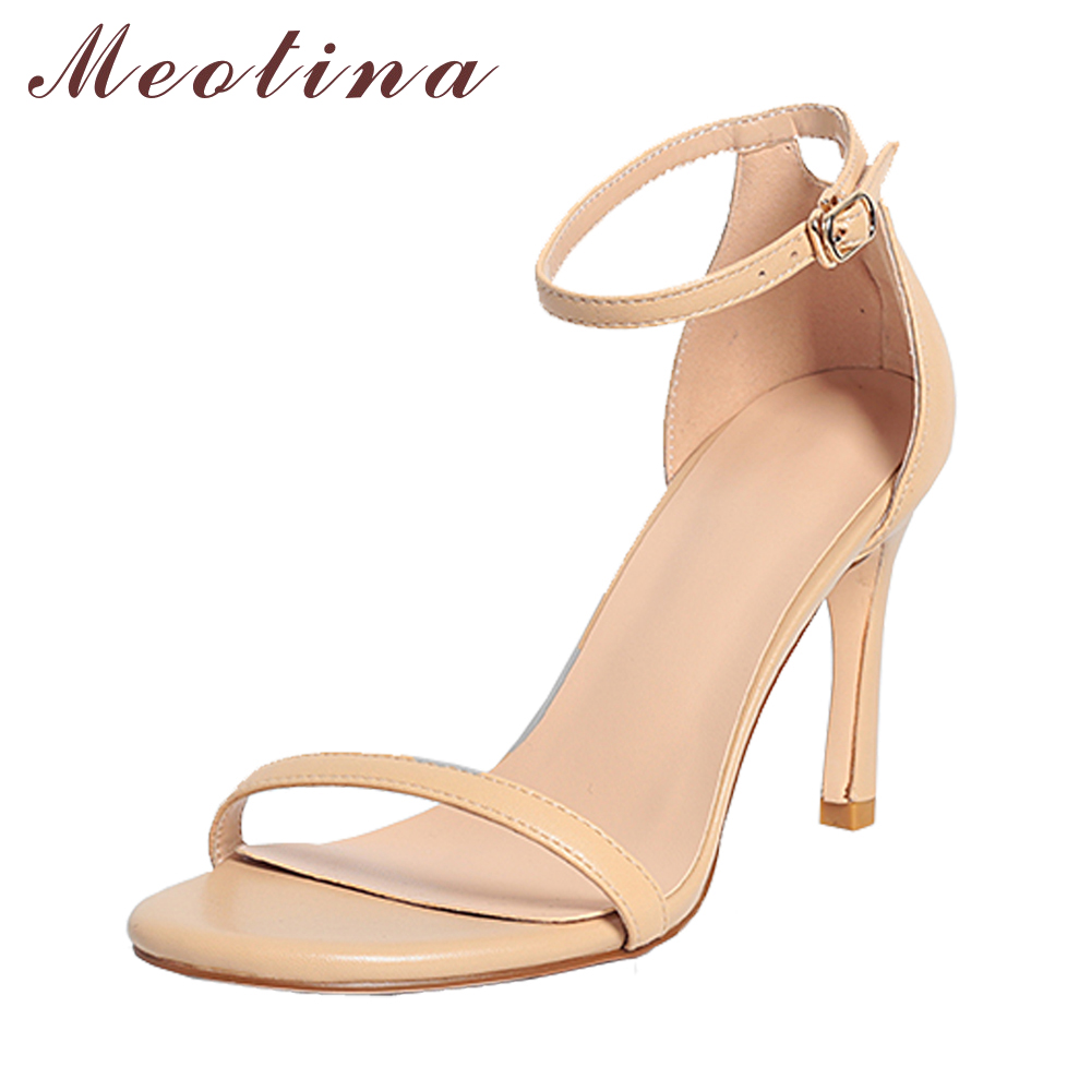 Meotina Designer Shoes Genuine Leather High Heels Sandals Summer Sheepskin Ankle Strap Thin High Heel Sandals Ladies Party Shoes 2017 new arrival abnormal jeweled heels rhinestone crystal embellished high heel sandals ankle strap lock summer party shoes