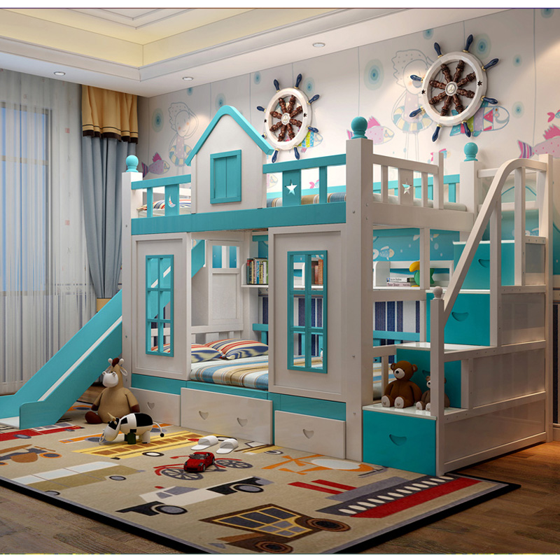 9  0128TB006 Fashionable kids bed room furnishings princess fortress with slide storages cupboard stairs double kids mattress HTB15R7WeAfb uJkSnb4q6xCrXXav