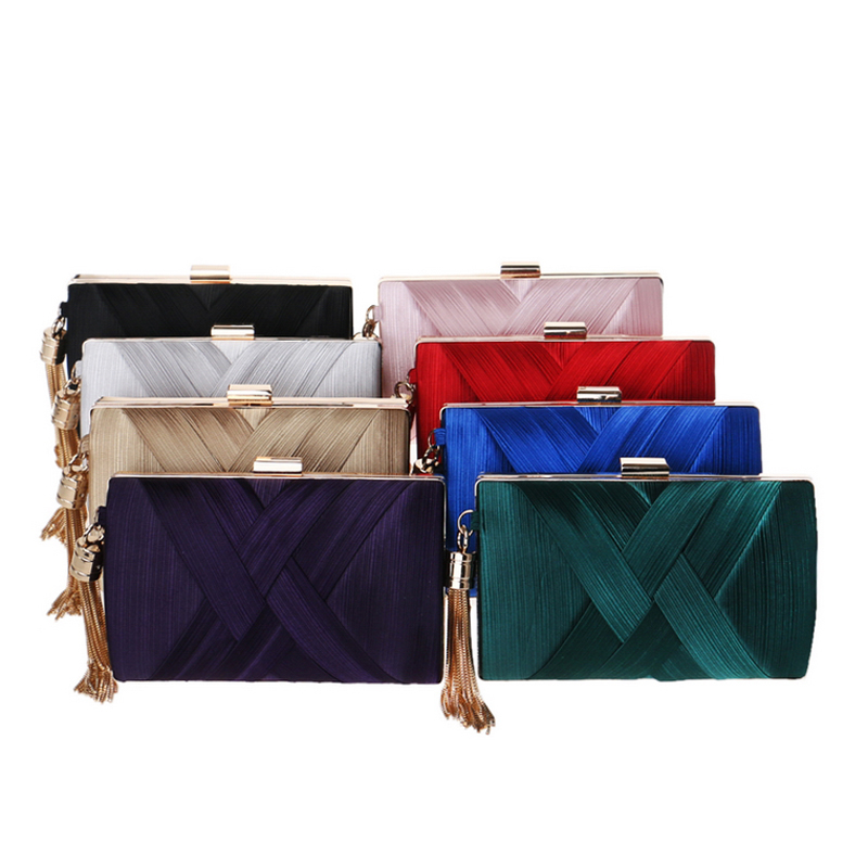 Image 4 - SEKUSA New Arrival Metal Tassel Lady Clutch Bag With Chain Shoulder Handbags Classical Style Small Purse Day Evening Clutch Bags-in Top-Handle Bags from Luggage & Bags