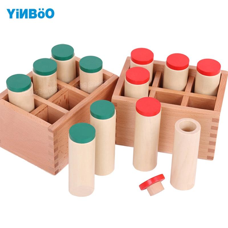 Caixas de Som de Brinquedo de Madeira Educacional Montessori para a Primeira Infância Preschool Training Aprendizagem 2 Caixas com 12 Cilindro De Madeira