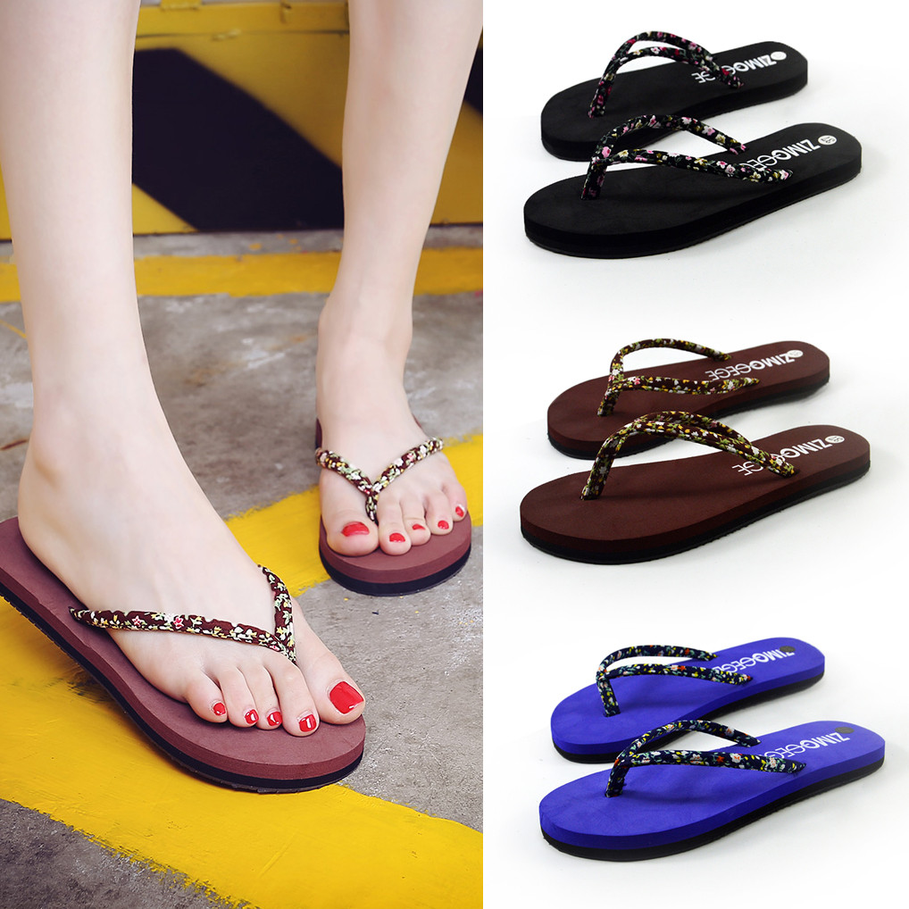 Women Summer Fashion Floral Sponge Cake Slip-resistant Flip-flops Sandals Shoes Leisure Solid Color Slipper for travel 4.93 #T07Women Summer Fashion Floral Sponge Cake Slip-resistant Flip-flops Sandals Shoes Leisure Solid Color Slipper for travel 4.93 #T07
