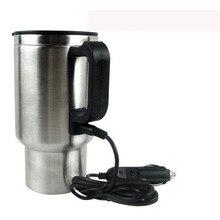Термос, чайник, адаптер для прикуривателя, 12 В, 450 мл, автомобильная чашка для путешествий, автомобильная нагревательная чашка из нержавеющей стали