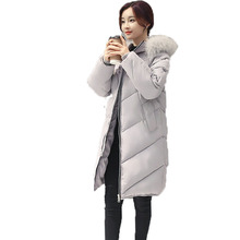 Winter Woman Fur Hooded Puffer Jacket Lady Long Hood Quilted Parka Women's Warm Basic Coat Gray Pink Black Wadded Overcoats 2016