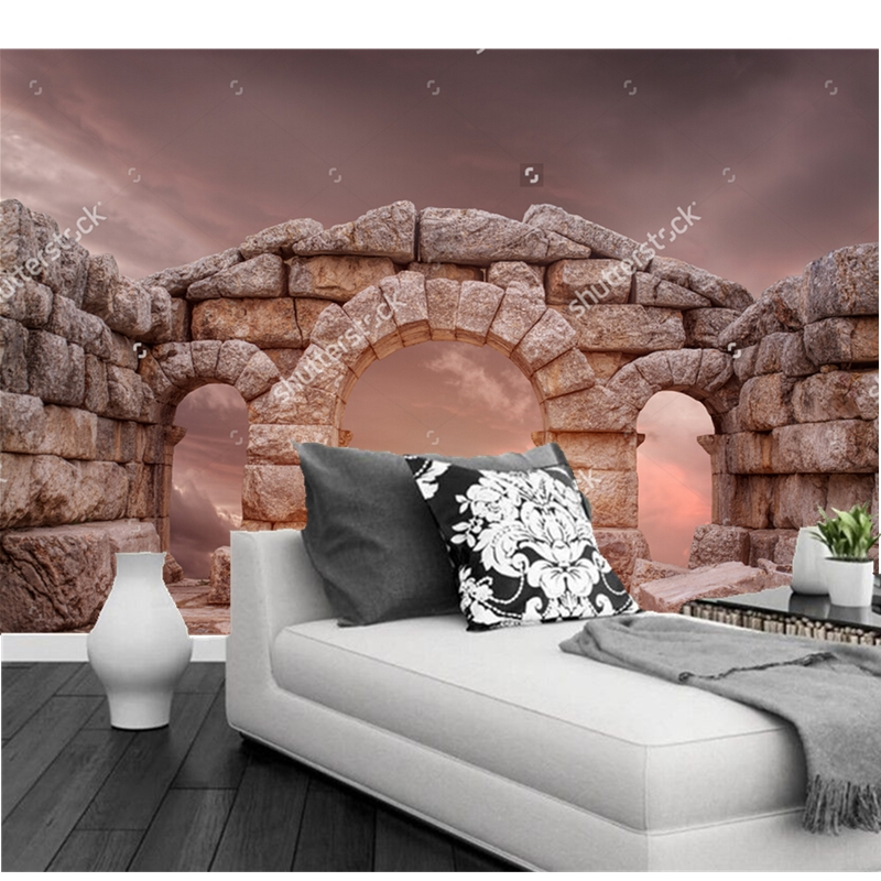 Custom landscape wallpaper, The medieval temple and the great sky,3D wallpaper wallpaper for living room sofa backdrop wallpaper custom baby wallpaper snow white and the seven dwarfs bedroom for the children s room mural backdrop stereoscopic 3d