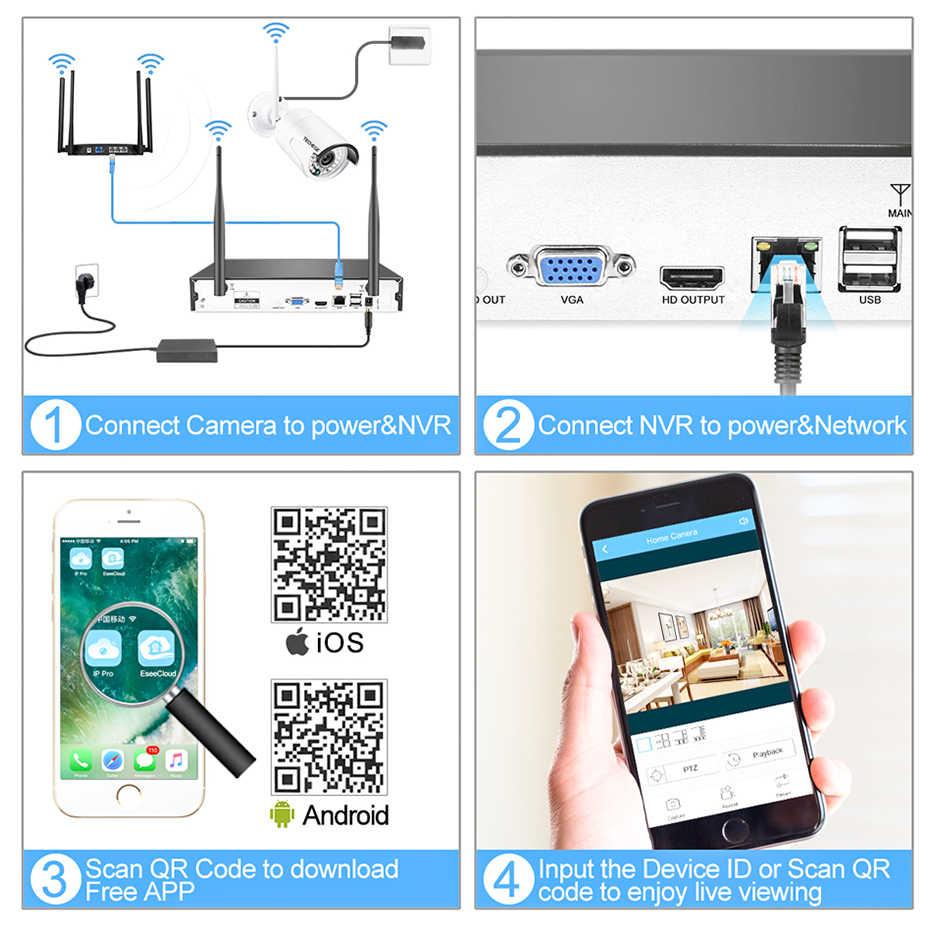 Techege HD 1080 P 4CH Беспроводная NVR система видеонаблюдения 2MP наружная Водонепроницаемая WiFi ip-камера аудио запись безопасности комплект видеонаблюдения