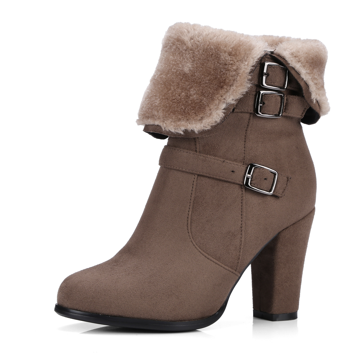 4161058f1bd3f NEMAONE Winter Women Round Toe Ankle Boots High Heels Shoes Double Buckle  Platform Short Martin Booties Size 33-43