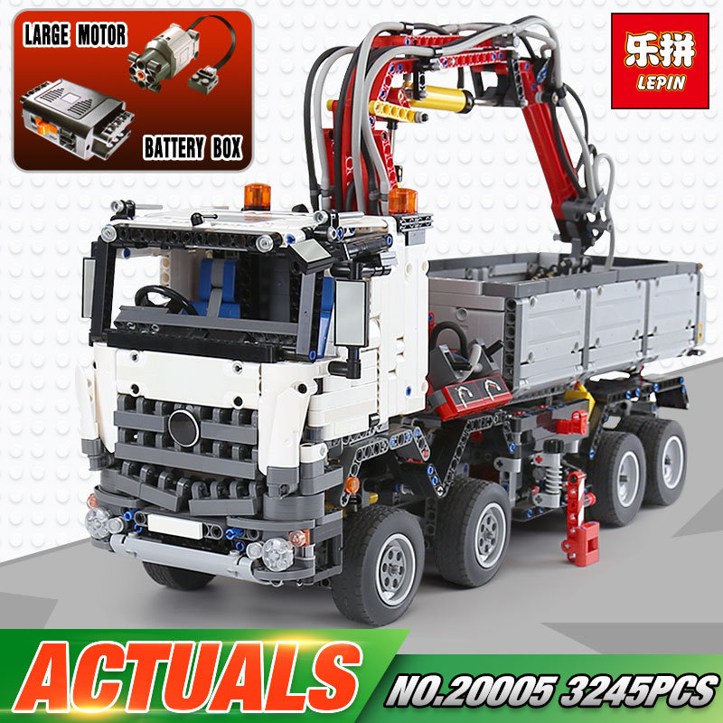 3245Pcs NEW LEPIN 20005 technic series 42023 Arocs Model Building Block Bricks Compatible with Boys Toy Gift hot 378pcs technic motorcycle exploiture model harley vehicle building bricks block set toy gift compatible with legoe