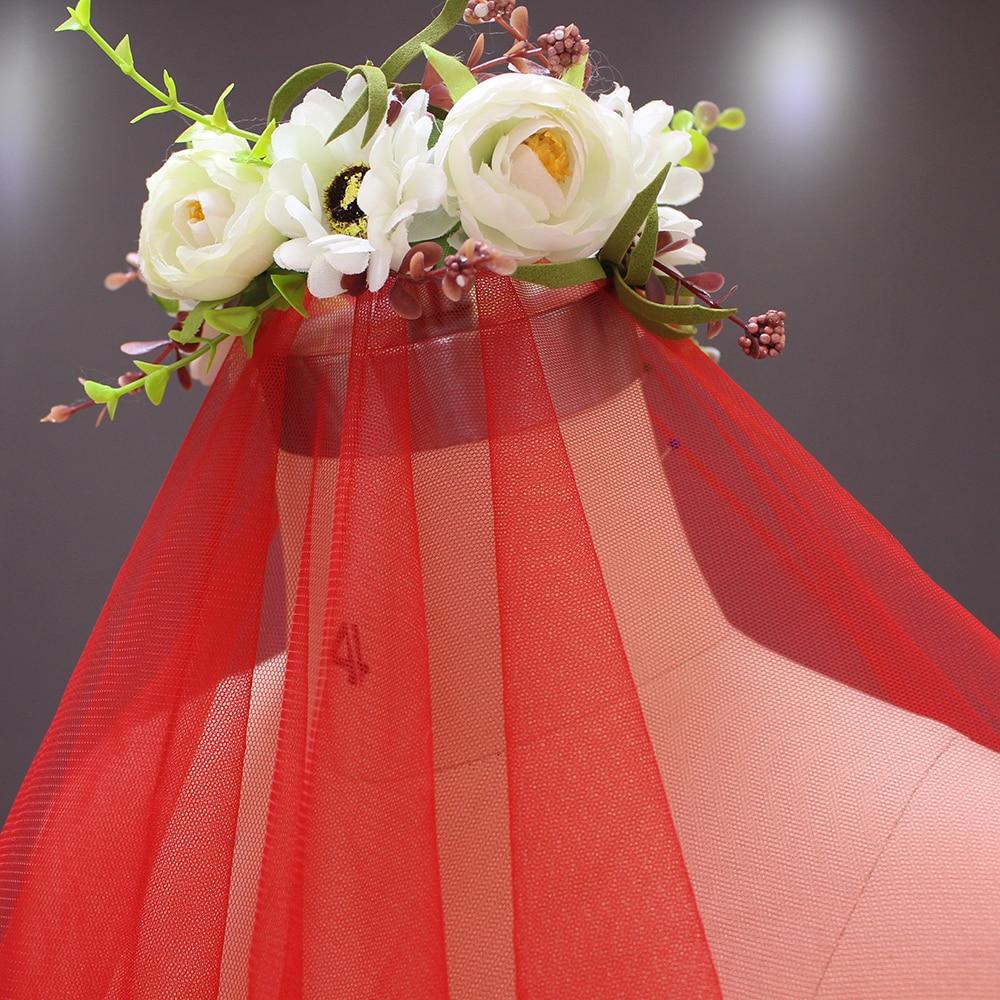 2019 Nya Layer Lace Appliques Röd Lång Bröllopssluga utan Kam 3 - Bröllopstillbehör - Foto 4
