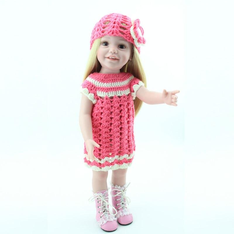 45cm 17'' Soft American Girl Silicone Reborn Doll Girl Toys Newborn Bonecas Realistal Baby Brinquedos For Girl Baby Bithday Gift