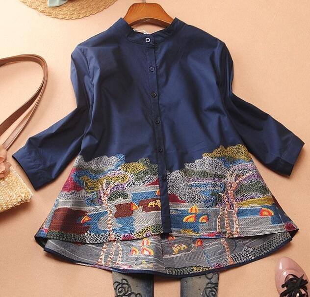 Women's Spring Three Quarter Sleeve A Line embroidery Shirt Female Vintage National Loose Casual Shirt Blouse TB270