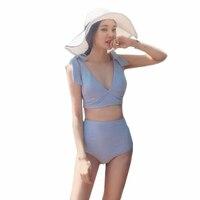 Summer Plunge Bikini High Waist Biquini 2017 Newest Women Swimsuits Sexy Swimwear Knot Shoulder Blue Beach