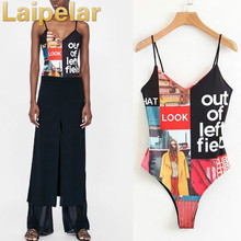 Laipelar printed short jumpsuits V-neck letter printing sling bodycon bodysuit European American fashion overall romper