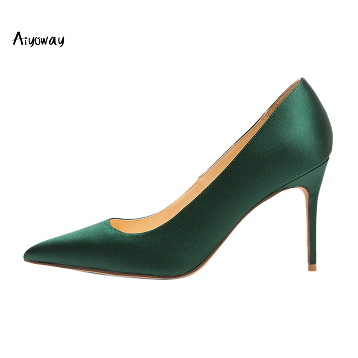 Aiyoway Women Shoes Pointed Toe High Heels Pumps 2019 Spring Autumn Ladies Party Wedding Shoes Slip On Red White Green Satin