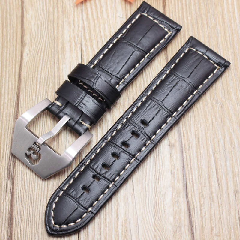 Genuine Leather Watchbands 22mm 24mm Thick Watch Band Strap Black Brown Orange Clock Belt Bracelet Skull Hollow Buckle For maikes 18mm 20mm 22mm watch belt accessories watchbands black genuine leather band watch strap watches bracelet for longines