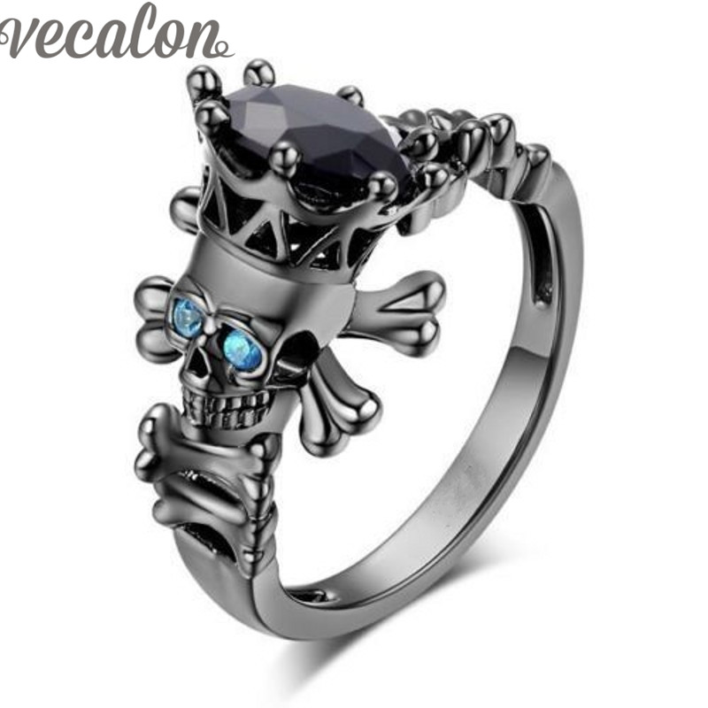 Vecalon Fashion Skull Jewelry Simulated Sapphire Diamond Cz Wedding Band Ring Set for Women Black Gold