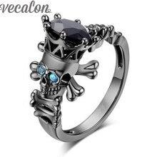 Vecalon Cráneo Joyería De Moda Simulado Sapphire Diamante Cz Wedding Band Set Anillo para Las Mujeres Negro Gold Filled anillo de Dedo Hembra