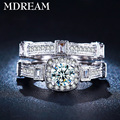 wholesale  double silver plated ring for women set inlaid big CZ diamond Elegant couple rings jewelry LSR235