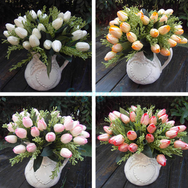 1 csokor 12 fej mesterséges tulipán selyem virágok levél otthon - Ünnepi és party kellékek
