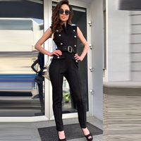 Sexy sleeveless women's long jumpsuit 2019 summer new double breasted belt Bodycon jumpsuit overalls party dress