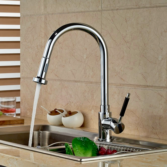 Luxury Pull Down Sprayer Chrome Polish Kitchen Faucet Deck ...
