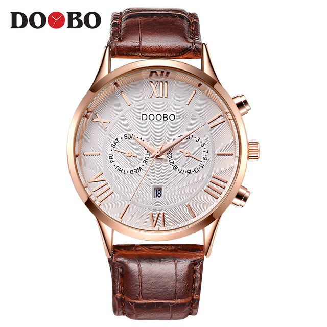 DOOBO Watches Men Fashion Brand Luxury Army Military Watch Leather Sport Watches Quartz Men Waterproof Wristwatches Male Clock