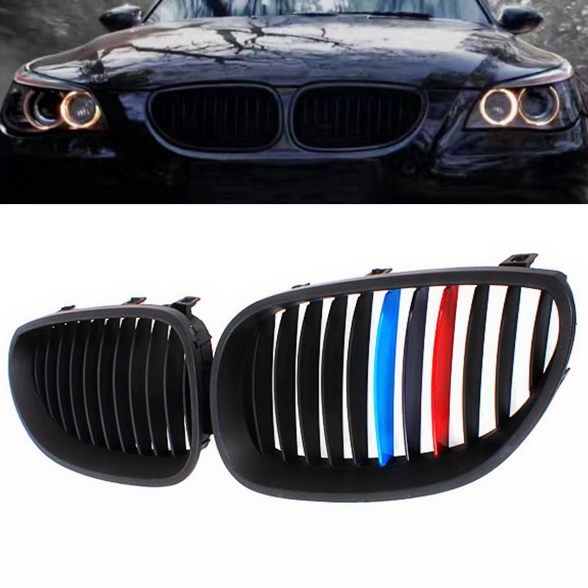 1Pair Car Front Gloss M-color Kidney Grill Grille For BMW E60 E61 Touring 5 Series 540i 530i 528i Sedan 2003 2004 2005-2010 стоимость