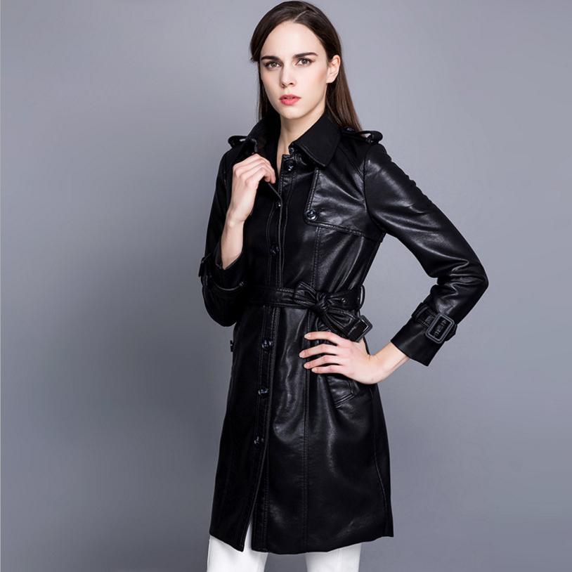 Mode Femmes De Qualité Automne Red Neuf Black Cuir En Outwear Élégant Veste Haute pomegranate vent Longue Hiver Pu Mince Manteau L1224 Tranchée Femelle Coupe pq7EP