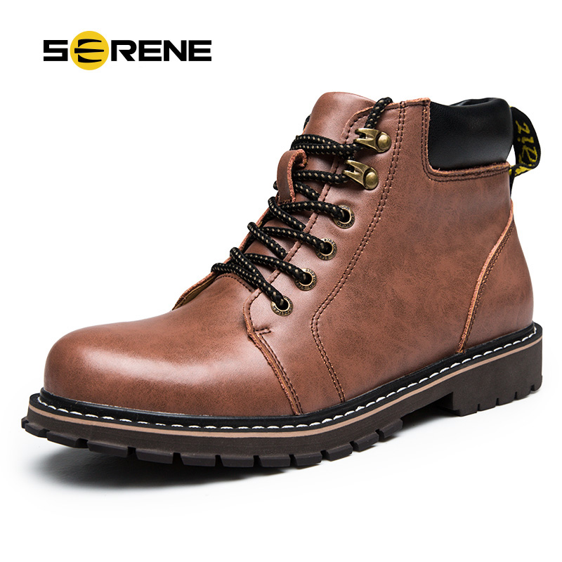 Serene Retro Men Work Boots Genuine Leather Fashion Ankle Boots Anti-Odor European Style Martin Boots free shipping autumn winter genuine leather men s work ankle boots martin boots british style western cowboy boots for men botas