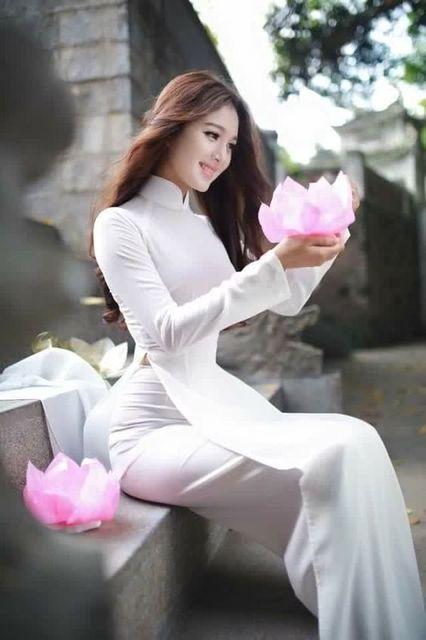 2018 winter white woman aodai vietnam traditional clothing ao dai vietnam robes and pants vietnam costumes improved cheongsam