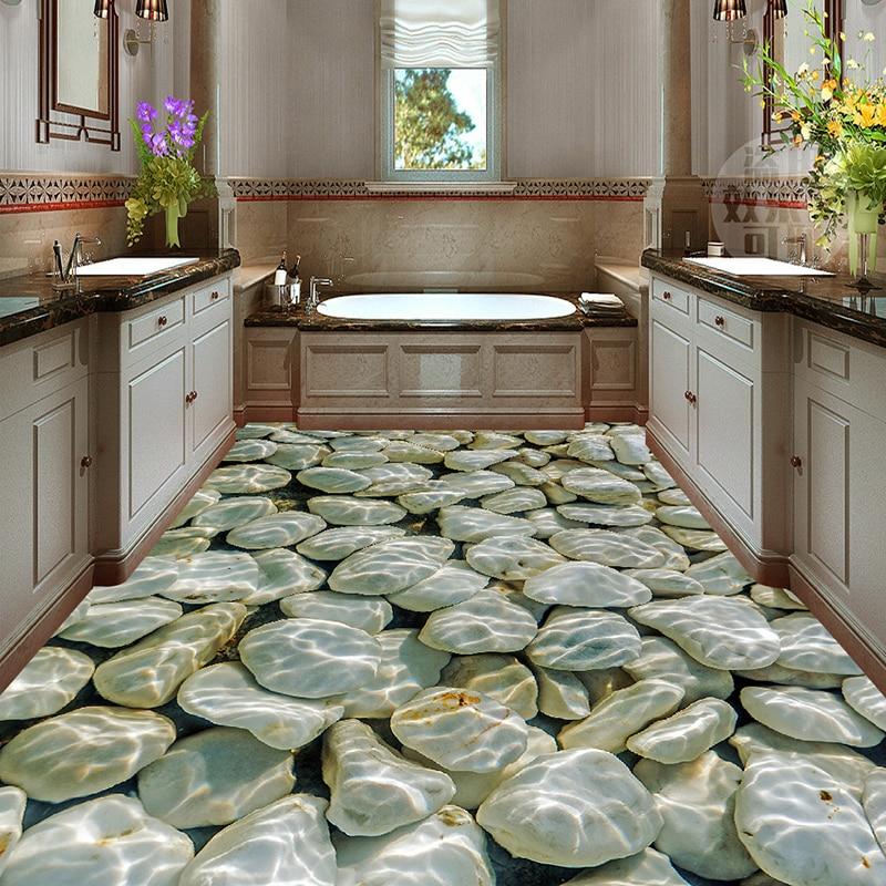 US $14.27 37% OFF|Custom Foto Wand Papier Kopfstein Wasser Wellen 3D Boden  Wandbild PVC Wasserdichte Bad Boden Aufkleber Tapete Wand Malerei 3D-in ...