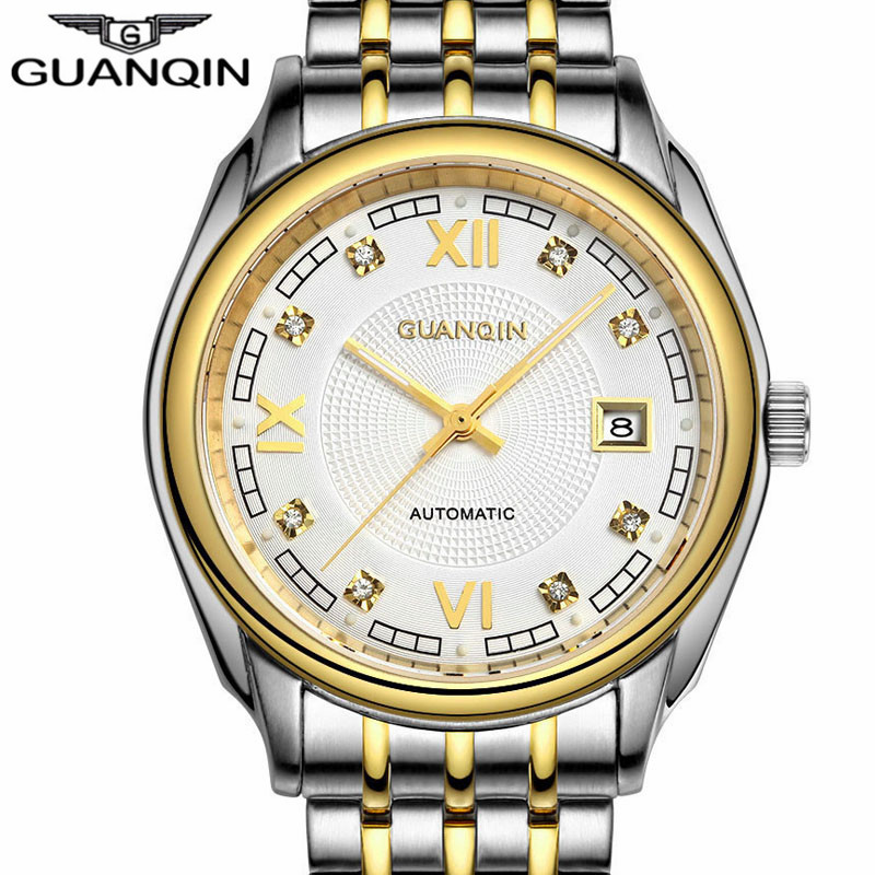 цена на 2016 GUANQIN Luminous Watches Men Watch Wearproof Waterproof Mens Watches Top Brand Luxury Automatic Mechanical Watch Wristwatch