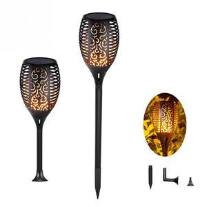 Image 1 - 1 шт. или 2 шт. 96 Светодиодный фонарь светильник на солнечной батарее с мигающим пламенем, уличный фонарь для украшения ландшафта, сада, газона, светильник Zonlicht