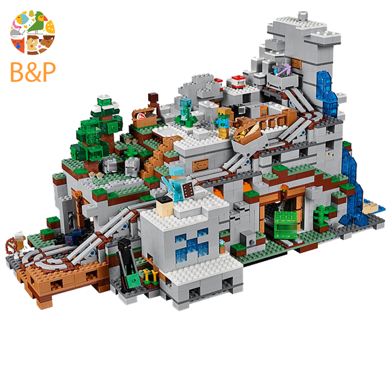 18032 The Mountain Cave My worlds Model Building Kit Blocks Bricks Children Toys Clone 21137 the mountain shadow