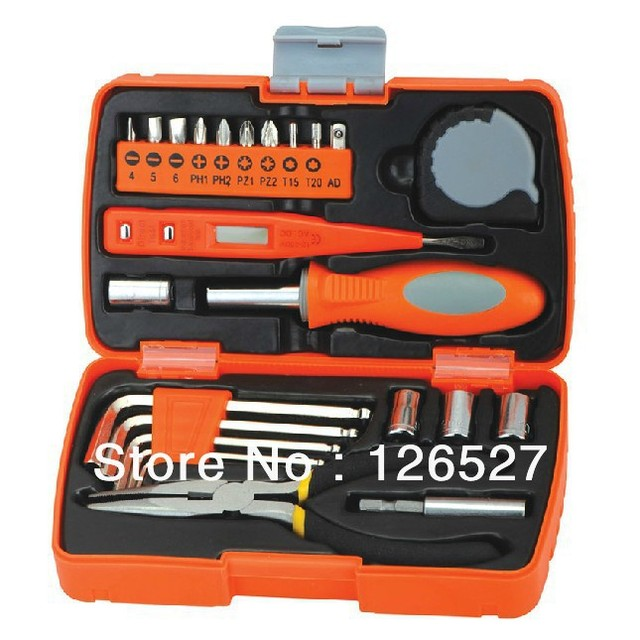 Free shipping 22pcs pocket plier household tool kit father's hand tool set chirismas gift bycicle repair tools