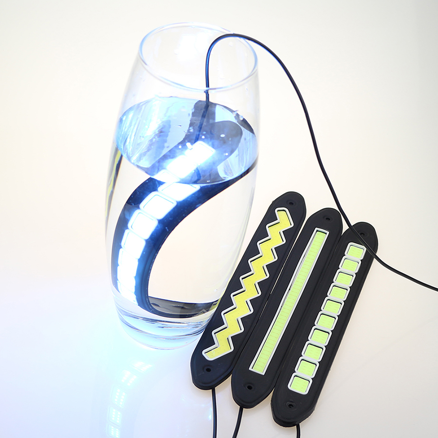2 Pcs COB LEDs DRL Luz de Circulação Diurna À Prova D 'Água Luzes - Faróis do carro - Foto 4