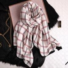 √ Новый зимний шарф женский высококачественный хлопковый платок и обертывания модный плед большой
