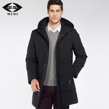 MUDI Men's Down Coats 90% White Duck Down Jacket Male Hooded Winter Jacket Thick Warm Long Overcoat Black Parka Plus Size 6XL