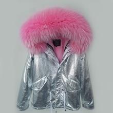 2017 silver parka winter jacket coat women real fur coat parkas natural raccoon fur collar hooded warm soft faux fur liner